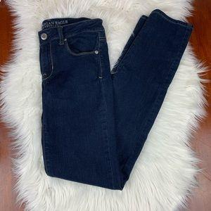 American Eagle Skinny Dark Wash Jeans 4 Long